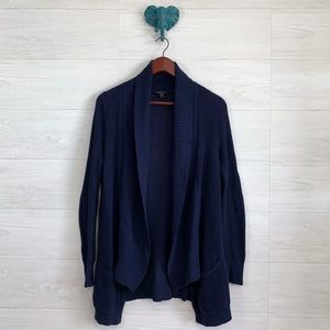 Express Navy Blue Waffle Knit Open Drape Cardigan